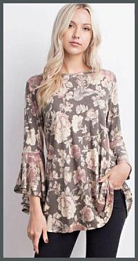 Olive Floral Bell Sleeve Top