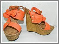Tropical Orange Strap Wedge Summer Sandal