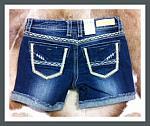LA Idol - Dark Blue With Chevron Trim Short Shorts