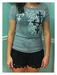 Gray T-Shirt with Black and White Crosses
