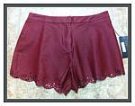 Burgundy Petal Cut-Out Shorts