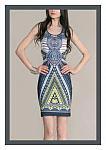 Navy Blue Aztec BodyCon Dress