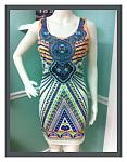 Peach Aztec Print BodyCon Dress