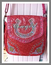 "Embroidered Fuchsia Cross-Body Purse ""Cowgirl"" and Horseshoe"