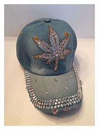 Denim Ball Cap - Cannabis Leaf