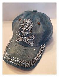 Denim Ball Cap - Skull & Crossbones
