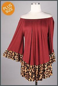 Burgundy Off-Shoulder Leopard