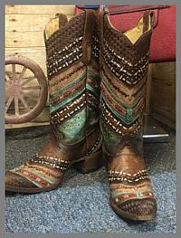 Corral - Turquoise & Brown Embroidery & Studs
