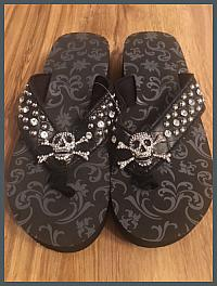 Skull & Crossbones Sandals-Black