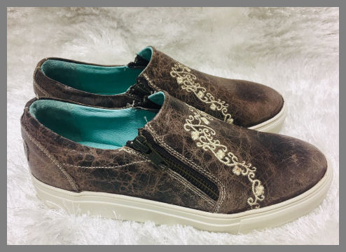 Corral Sneakers - Brown Distressed Leather & Ivory Embroidery