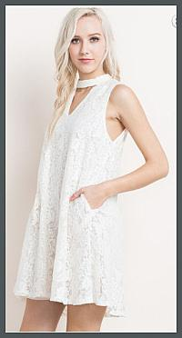 White Floral Lace Pocket Dress