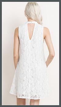 White Floral Lace Pocket Dress